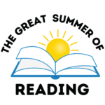 The Great Summer of Reading Logo (A blue book opened with a yellow sun)